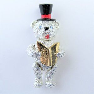 Fully Jointed Singing Bear Brooch - Silver Gold